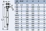 Spanner gaffel - stud M12 x 6mm_